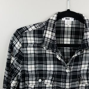 Paige Flannel Black White Button Down SZ S